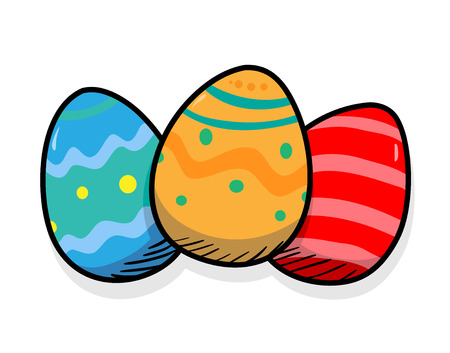 light shadow: Easter Eggs, a hand drawn vector illustration of three colorful Easter eggs with a light shadow backdrop.