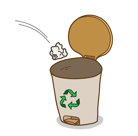 garbage bin: Garbage Bin, a hand drawn vector illustration of a garbage bin with recycle symbol on it.
