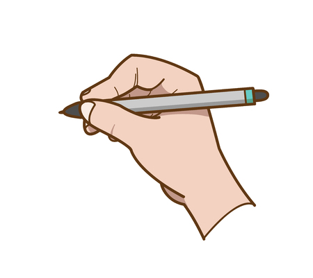 graphic novel: Hand Drawing, a hand drawn vector illustration of a hand holding a ballpoint about to writedraw something. Illustration