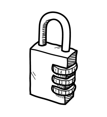 numerical: Padlock Doodle, a hand drawn vector doodle illustration of a padlock with numerical lock system. Illustration