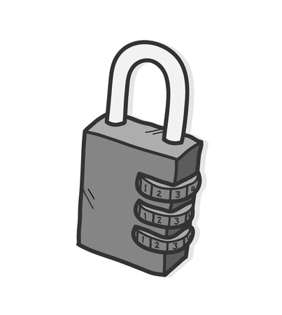 numerical: Padlock, a hand drawn vector illustration of a padlock with numerical lock system with shadow backdrop (editable). Illustration