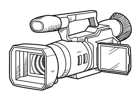 tv camera: TV Camera Doodle, a hand drawn vector doodle illustration of a TV camera for professional broadcast use.