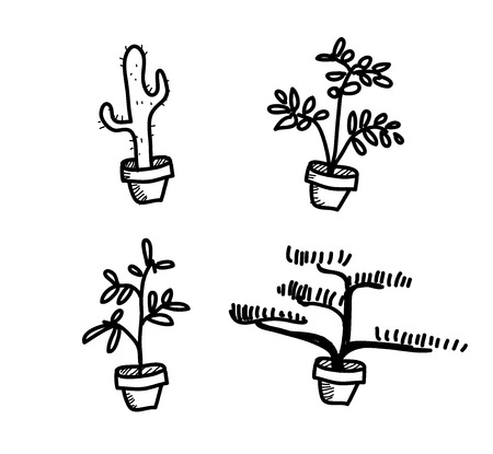 vegetation: Plant Vegetation Pot Doodle, a hand drawn vector doodle illustration of four plant vegetation pots.