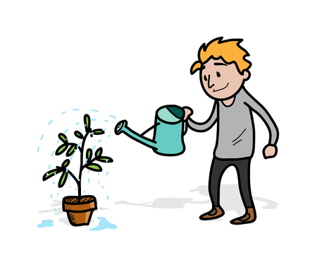 tending: Watering the Vegetation Plant, a hand drawn vector illustration of a man, watering his vegetation plant (each objects on separate groups for easy editing)