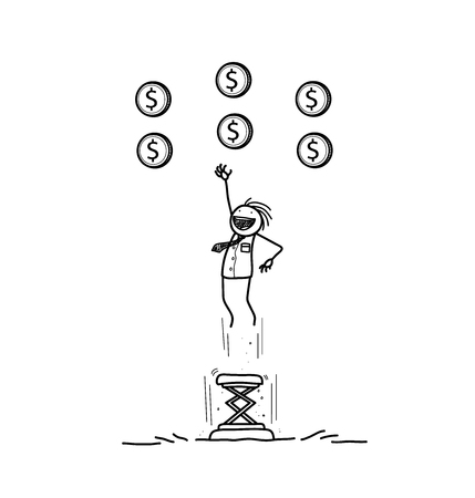 trampoline: Reaching Your Goals, a hand drawn vector doodle illustration of a businessman jumping high using a portable trampoline to get the money up in the air.