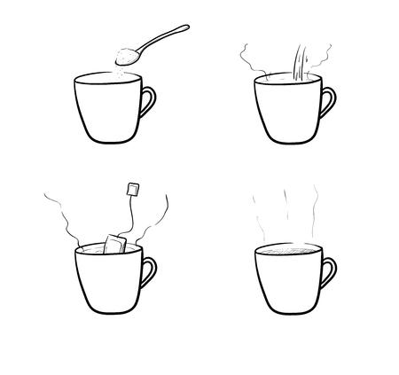 infusion: Tea Brewing Vector Set, a hand drawn vector illustration set of tea brewing method.