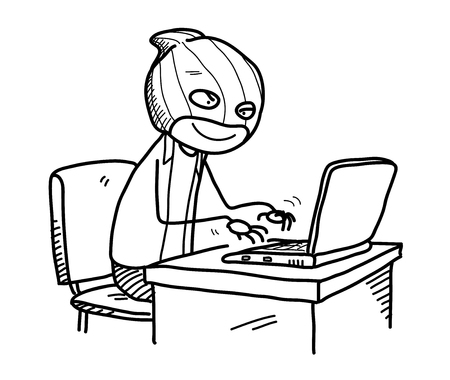 Cyber Crime Doodle, a hand drawn vector doodle illustration of a hacker trying to hack someone's bank account.