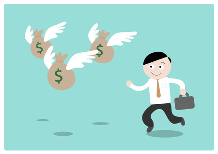 money bags: Chasing the Money (Dollar), a hand drawn vector illustration of a businessman chasing after flying money bags (all objects on different groups for easy editing).