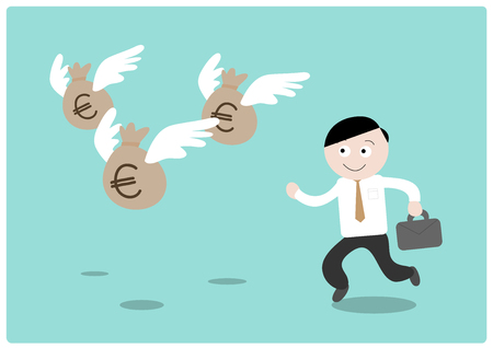 money euro: Chasing the Money (Euro), a hand drawn vector illustration of a businessman chasing after flying money bags (all objects on different groups for easy editing).