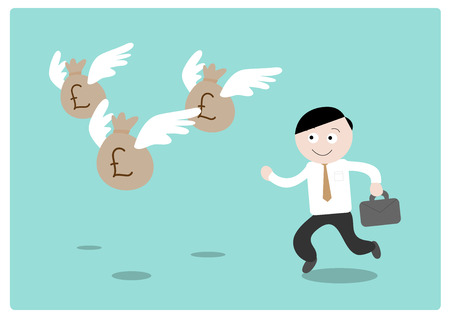 flying money: Chasing the Money (Pound Sterling), a hand drawn vector illustration of a businessman chasing after flying money bags (all objects on different groups for easy editing). Illustration
