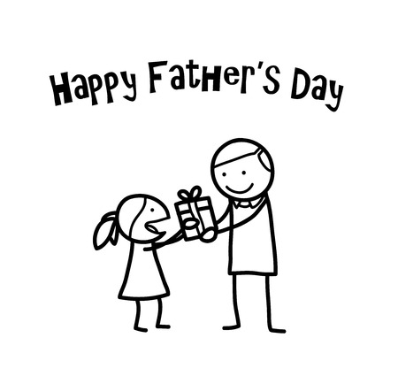 father and child: Happy Fathers Day, a hand drawn vector doodle illustration of a little girl giving her father a present on Fathers Day.