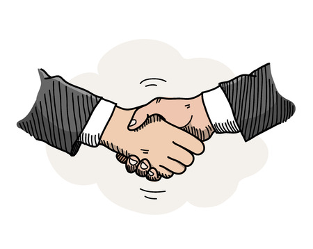 mutual: Handshake, a hand drawn vector doodle illustration of hands shaking to a mutual agreement in a business partnership. Illustration