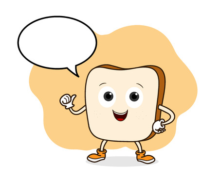 narration: Bread Vector, a hand drawn vector illustration of a smiling bread with blank narration bubble (all objects are on separate groups for easy editing).