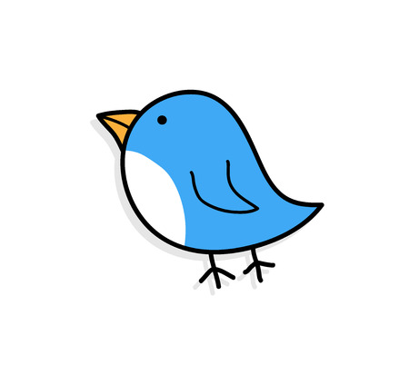 petite: Cute Blue Bird, a hand drawn vector illustration of a cute blue bird with shadow backdrop (on separate group). Illustration