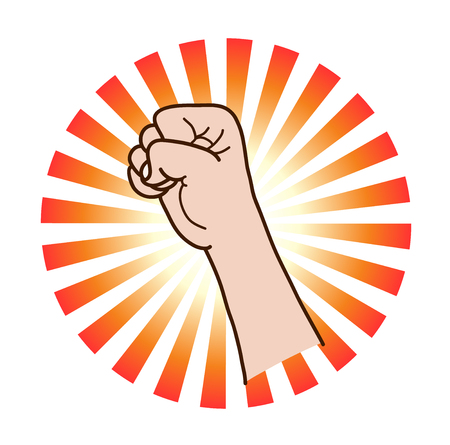 intimidate: Power and Strength, a hand drawn vector illustration of a raised fist, isolated on a simple background (editable).
