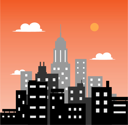 skylines: City at Sunset, a hand drawn vector illustration of a city at sunset. Illustration