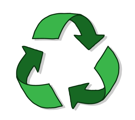 recycle symbol: Recycle Symbol, a hand drawn vector illustration of a recycle symbol with shadow backdrop. Illustration