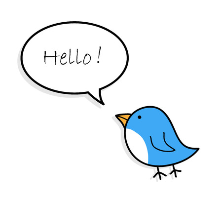 petite: Blue Bird Greetings, a hand drawn vector illustration of a cute blue bird with greeting text. Illustration