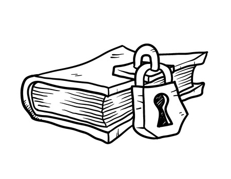 locked: Locked Book Doodle, a hand drawn vector doodle illustration of a locked book. Illustration