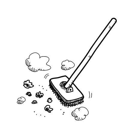 cleaning up: Cleaning Up, a hand drawn vector doodle illustration of a floor brush cleaning up the dirt and stuff.