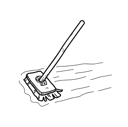 mop floor: Mopping the Floor Doodle, a hand drawn vector doodle illustration of a mop, mopping the floor.