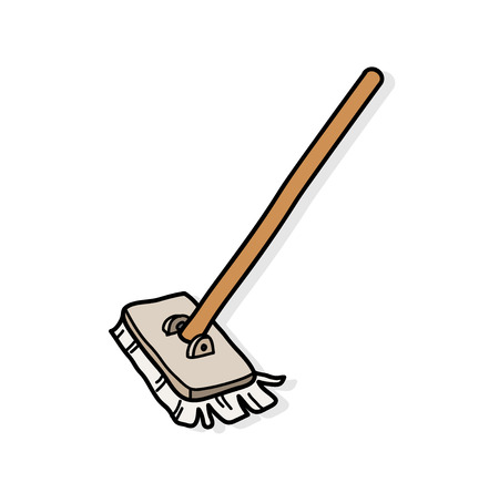 Mop, a hand drawn vector illustration of a mop with shadow backdrop. Иллюстрация