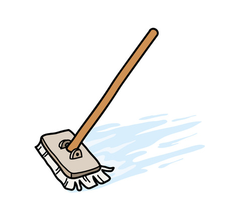 Mopping the Floor, a hand drawn vector illustration of a mop, mopping the floor. Иллюстрация