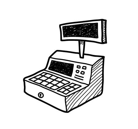 Cash Register Doodle, une illustration vecteur doodle tirée par la main d'une caisse enregistreuse.