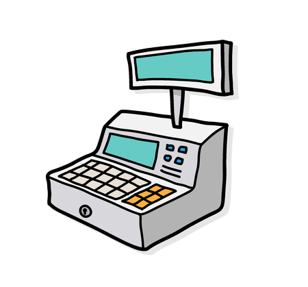 cash: Cash Register, a hand drawn vector illustration of a cash register with shadow backdrop (separate group).