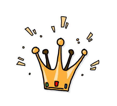 herald: King Crown, a hand drawn vector illustration of a shiny king crown with backdrop shadow (on separate group).