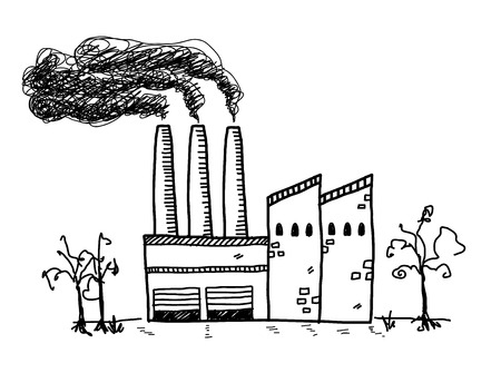 black smoke: Factory Doodle, a hand drawn vector doodle illustration of a factory building with black smoke coming out of its chimneys. Illustration