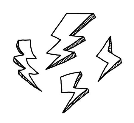 lightnings: Lightning Doodle Set, a hand drawn vector doodle illustration set of lightnings. Illustration