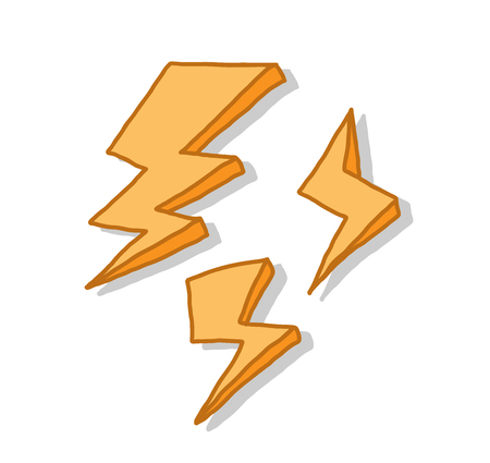 Lightning Icon Set, a hand drawn vector doodle illustration of lightning icon set with backdrop shadows (on separate group).