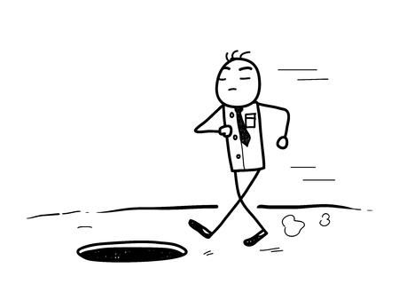 arrogancia: La arrogancia del Doodle, un ejemplo del vector bosquejo dibujado mano de un hombre de negocios arrogante a punto de cumplir su ca�da.