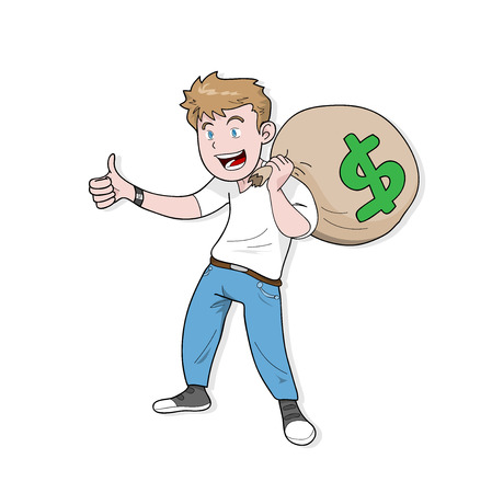 man carrying: Profit, a hand drawn vector illustration of a man carrying a big bag filled with money. Illustration