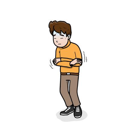 sweaty: Feeling Sick,illustration of a man feeling sick. Illustration