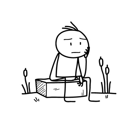 The Thinker,doodle illustration of a stick figure pondering about something. 矢量图像