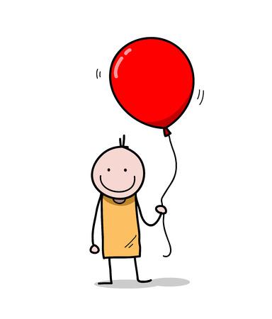 big figure: Little Kid Holding A Balloon, doodle illustration of a stick figure holding a big balloon. Illustration