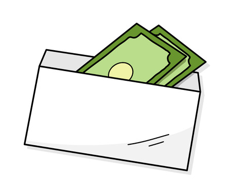 Money In An Envelope,  illustration of money inside a white envelope.