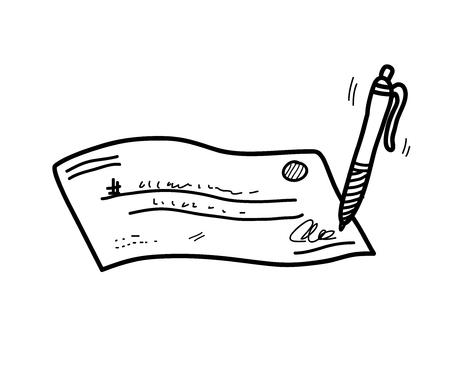 ChequeCheck Doodle,  doodle illustration of a signed chequecheck. Ilustração