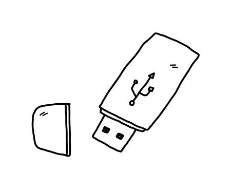 flash drive: USB Flash Drive,doodle illustration of a USB drive.