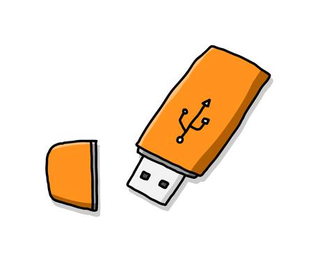 Flash Drive,doodle illustration of a USB drive.