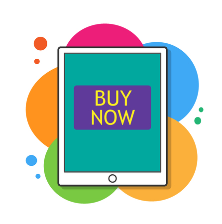 Buy Now,  illustration of a tablet device with buy nowwritten on the screen.
