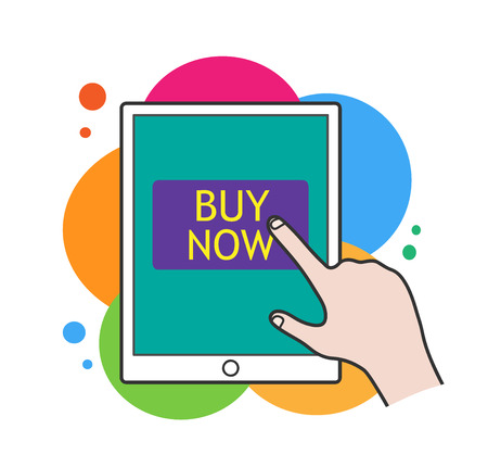 Online Shopping,  illustration of a tablet device with buy nowwritten on the screen.