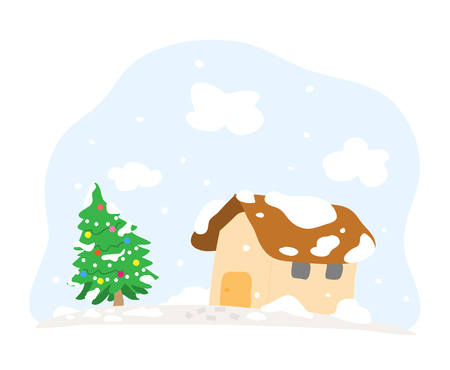 Snowy Christmas Day, a hand drawn vector cartoon illustration of a house and a Christmas tree in a snowy day. Ilustração