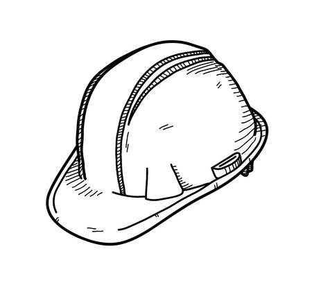 Hard Hat or Safety Hat, a hand drawn vector doodle illustration of a hard hat.