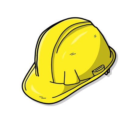 hard: Hard Hat or Safety Hat, a hand drawn vector illustration of a hard hat.