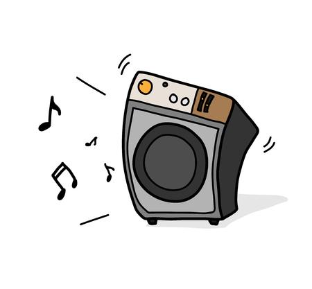 Music Speaker Audio, a hand drawn vector illustration of a music speaker.
