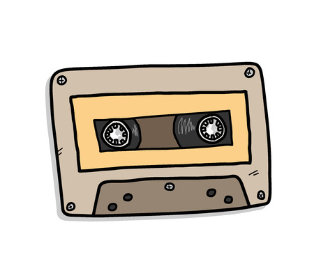 Cassette, a hand drawn vector illustration of an audio cassette. Vectores