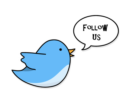 Blue Bird with Follow Us Text, a hand drawn vector cartoon illustration of a cute blue bird with narration bubble that reads follow us.
